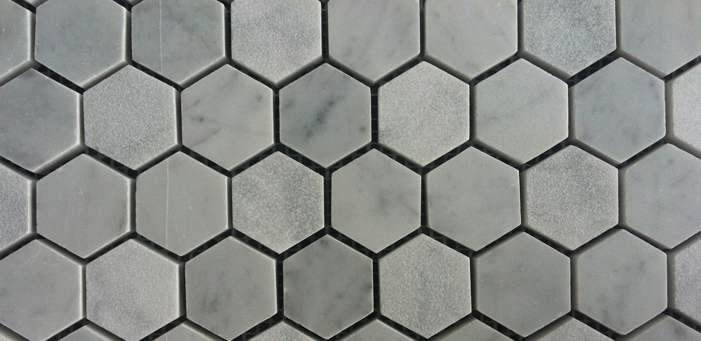Carrara hexagonal honed mosaics